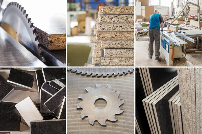 Collage of cut the parts from chipboard on a circular saw at a furniture factory.  stock photography