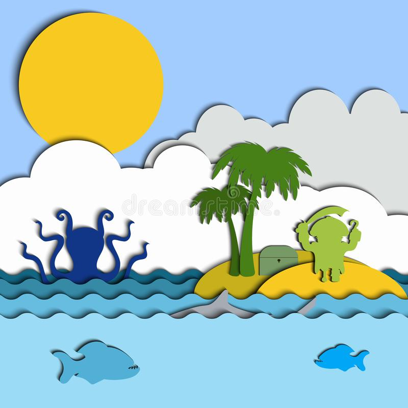 Collage on cutting paper on the theme of the sea. Pirate on an island with palm trees. In the sea swim Kraken, shark and piranhas royalty free illustration