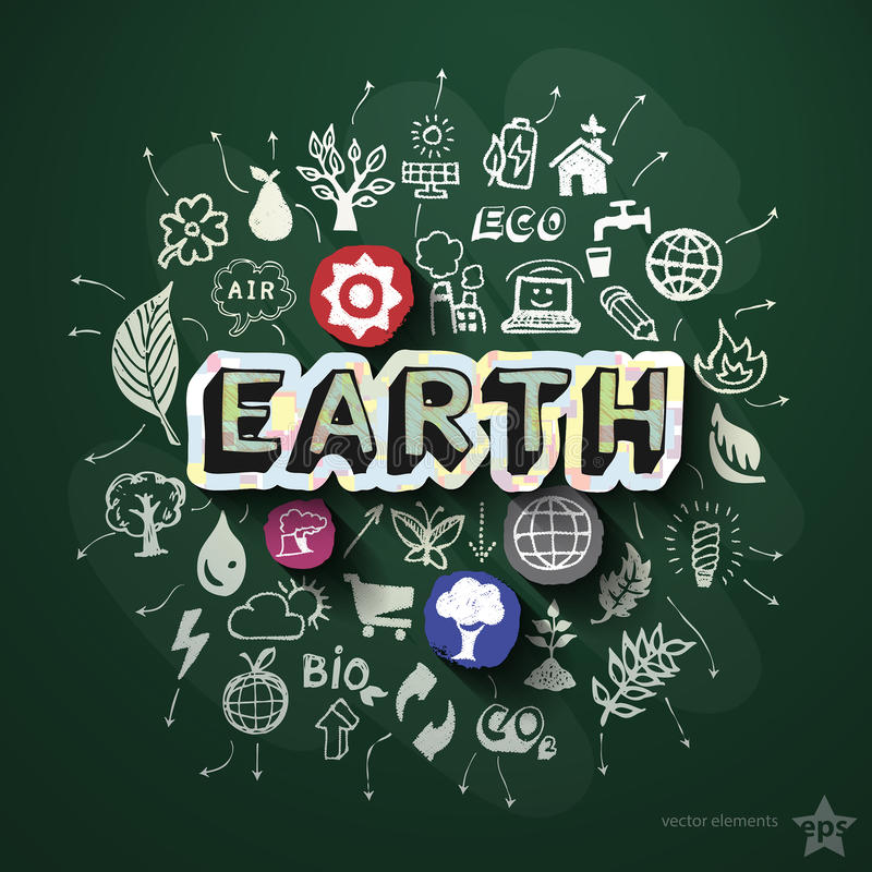 Collage d'écologie avec des icônes sur le tableau noir illustration de vecteur