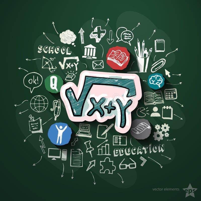 Collage d'éducation avec des icônes sur le tableau noir illustration de vecteur