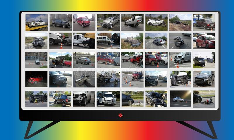 Collage d'actualités de multimédia à la TV l'illustration de véhicule des accidents 3d a isolé le blanc rendu Photos et illustrat illustration libre de droits