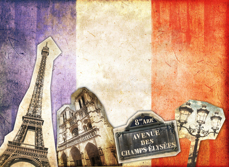 Collage d'annata Parigi fotografia stock libera da diritti