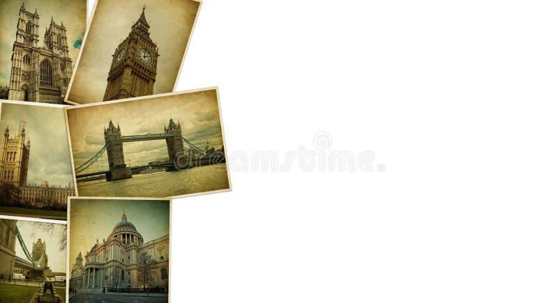 Collage d'annata Spazio in bianco di viaggio di Londra immagine stock libera da diritti