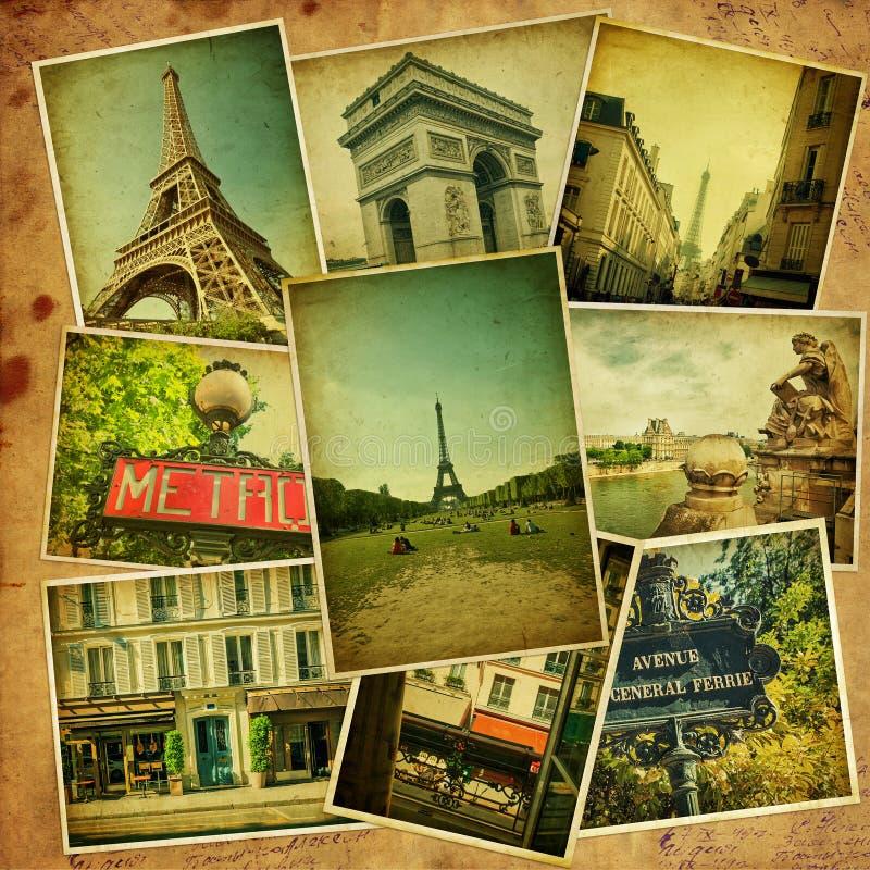 Collage d'annata. Viaggio di Parigi. fotografie stock