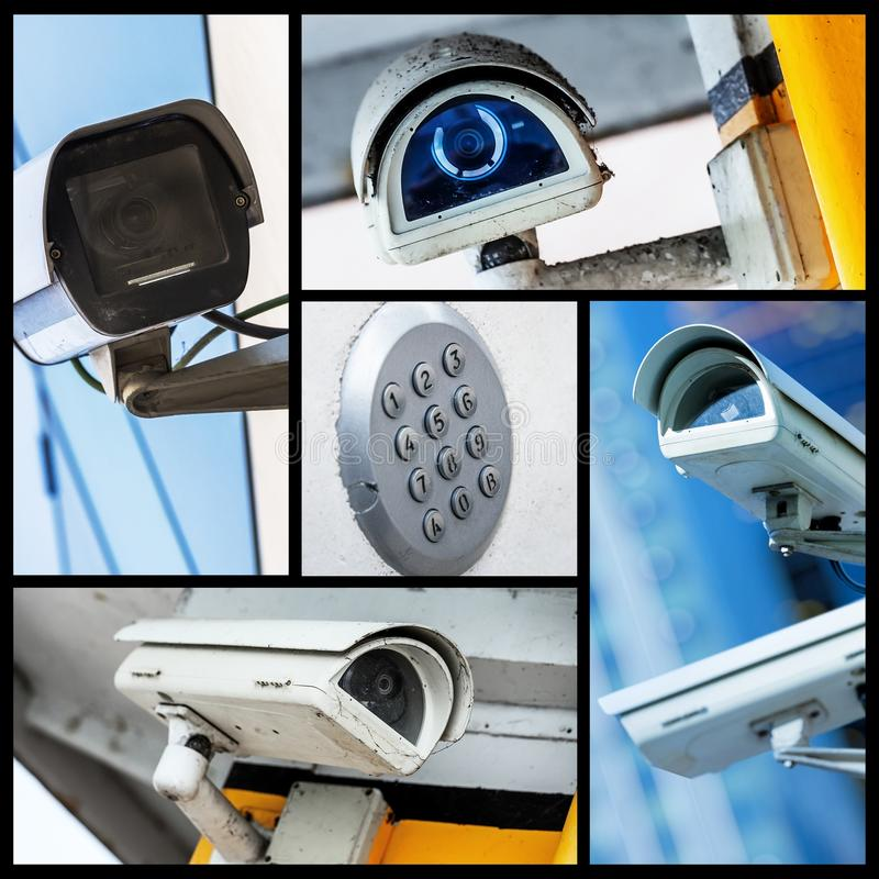 Collage d'appareil-photo de télévision en circuit fermé de sécurité de plan rapproché ou de système de surveillance photos libres de droits
