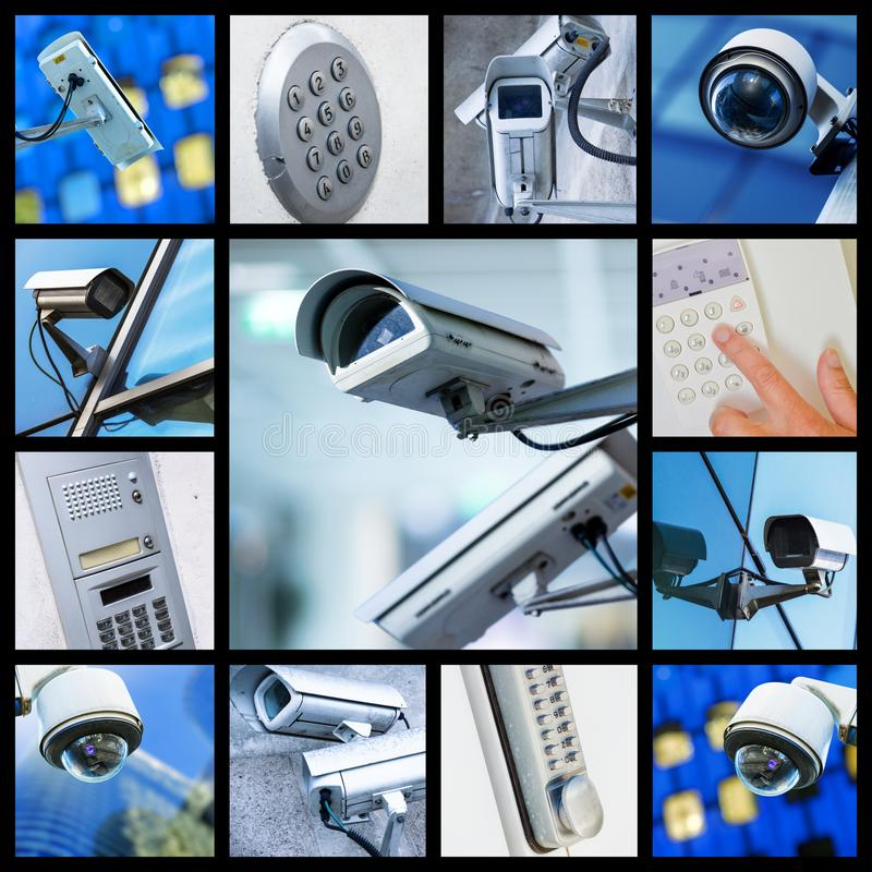 Collage d'appareil-photo de télévision en circuit fermé de sécurité de plan rapproché ou de système de surveillance photo stock
