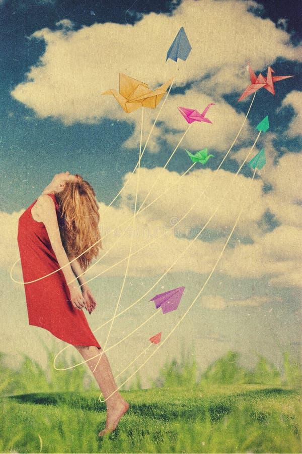 Collage d'art avec la belle femme, rétro style image libre de droits