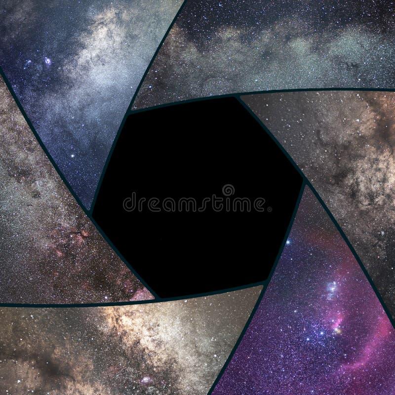Collage d'Astrophotography Univers de collage de volet Astronomie d'espace images libres de droits
