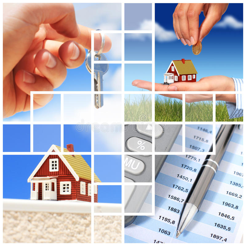 Collage d'immobiliers. images stock