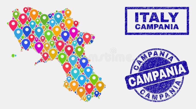 Collage d'indicateurs de carte de carte de région de Campanie et de timbres rayés illustration de vecteur