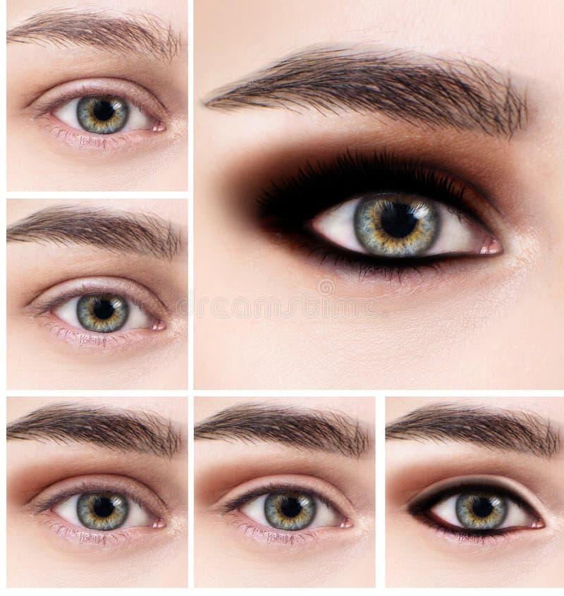 Collage d'oeil femelle avec des étapes de maquillage photographie stock libre de droits