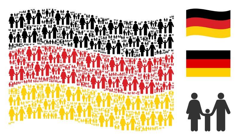 Collage d'ondeggiamento della bandiera della Germania degli elementi del bambino della famiglia royalty illustrazione gratis