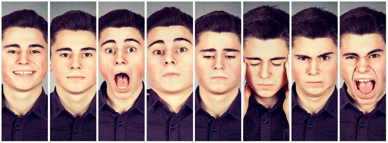 Collage d'un homme exprimant différentes émotions images stock