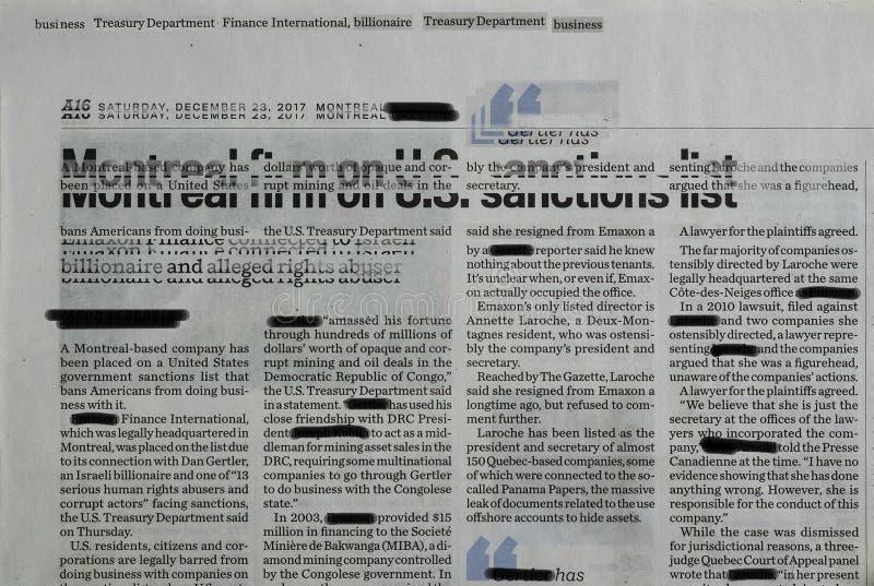 Collage d'un journal d'entreprise montréalais censuré photo libre de droits