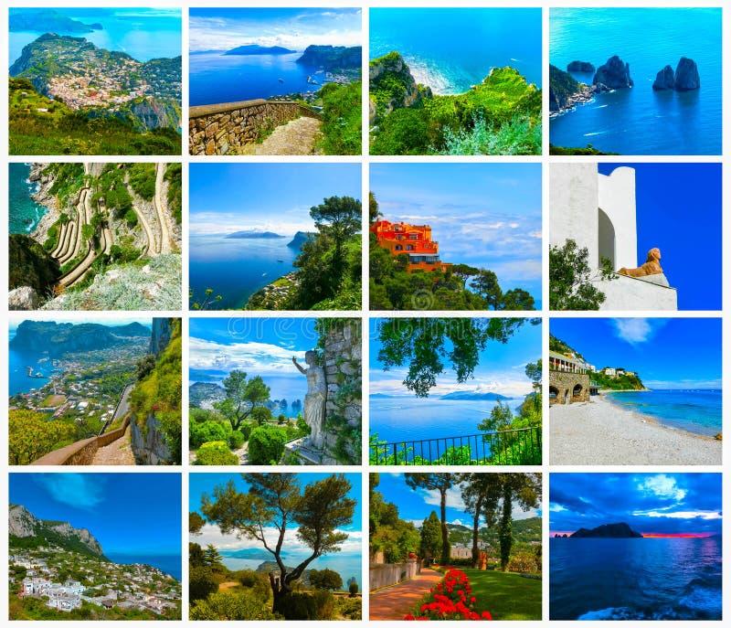 Collage dalle viste bella e dell'isola famosa di Capri, fotografia stock libera da diritti
