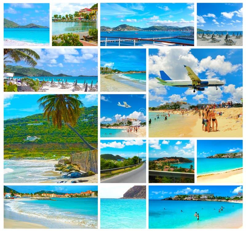Collage dalle viste della spiaggia caraibica a San Martino immagine stock
