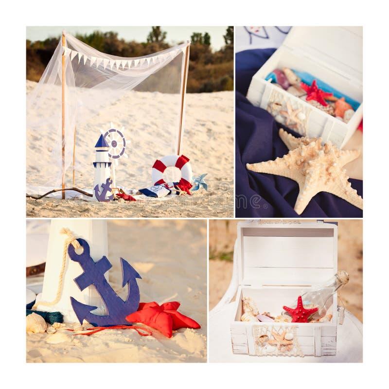 Collage dans le style marin Phare, bouée de sauvetage, coussin et ancre décoratifs photos libres de droits