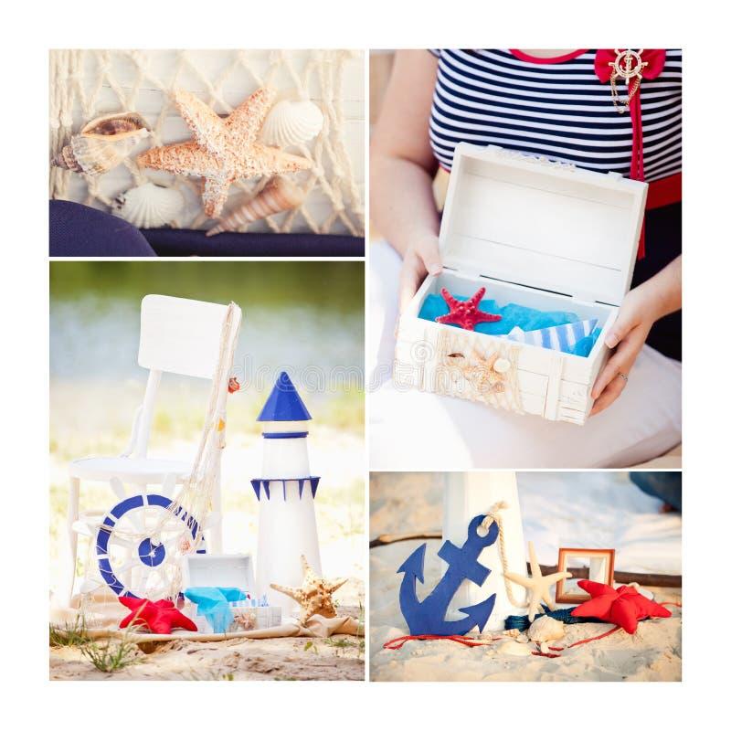 Collage dans le style marin Phare, bouée de sauvetage, coussin et ancre décoratifs photo stock