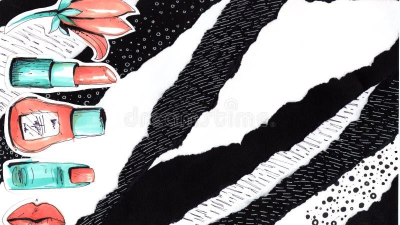 Collage dans un style de revue de mode avec les lèvres folles de fille Le vernis à ongles, le doigt, la fleur, le rouge à lèvres  illustration libre de droits