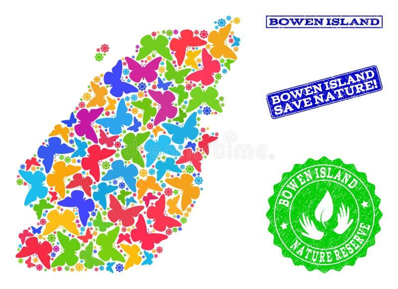 Collage de ahorro de la naturaleza del mapa de la isla de Bowen con las mariposas y los sellos de la desolación ilustración del vector