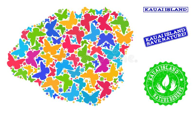 Collage de ahorro de la naturaleza del mapa de la isla de Kauai con las mariposas y los sellos de la desolación libre illustration