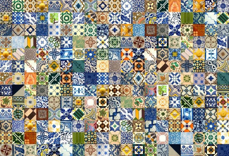 Collage de baldosas cerámicas de Portugal stock de ilustración