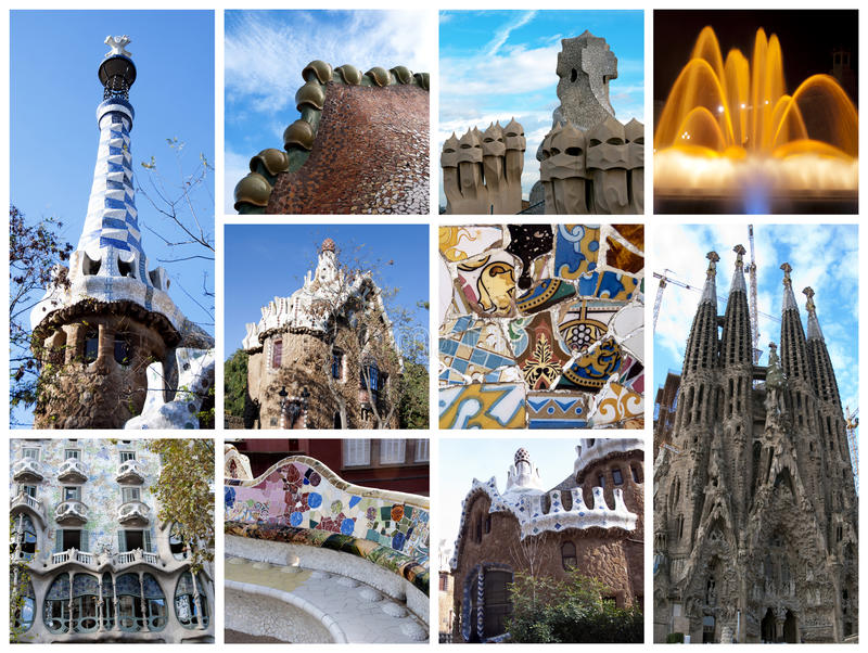 Collage de Barcelona imagen de archivo
