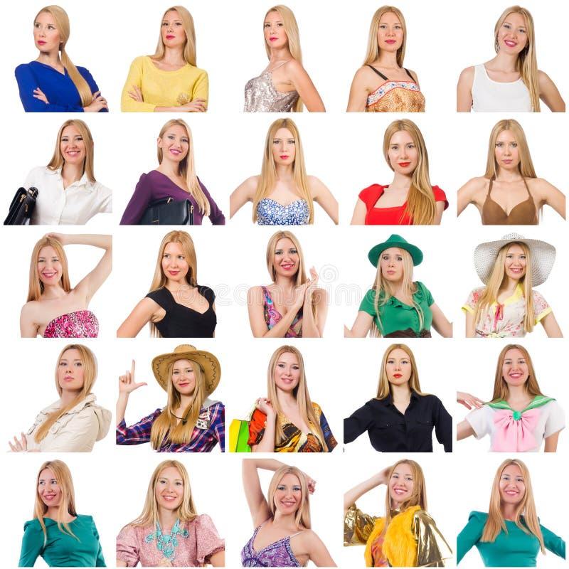 Collage de beaucoup de visages du même modèle images stock