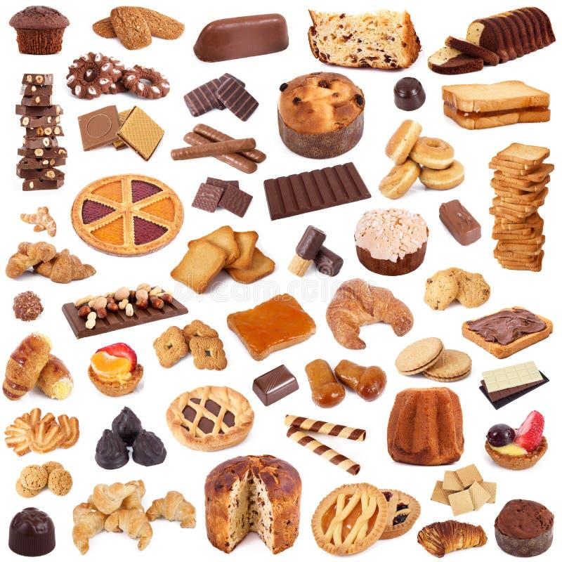 Collage de biscuits sur le fond blanc photographie stock