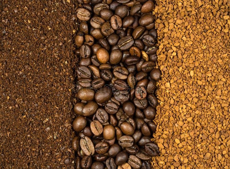 Collage de café, fraisé, d'instant et de haricots images libres de droits