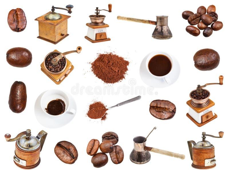 Collage de café, haricots, moulins à café, boissons photo libre de droits