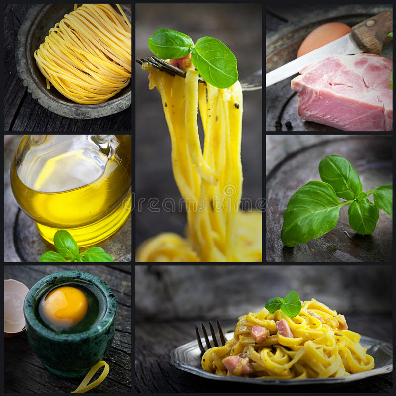 Collage de carbonara de pâtes images stock