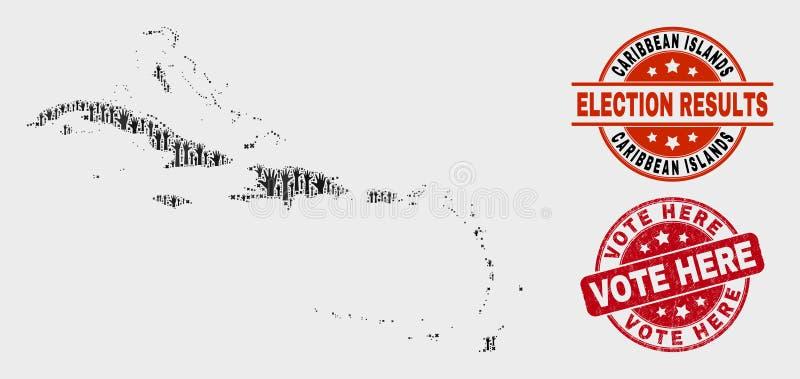 Collage de carte électorale de Caraïbes et de vote de timbre grunge ici illustration libre de droits