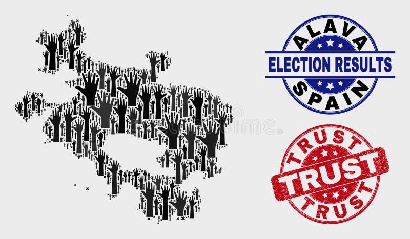 Collage de carte électorale de province d'Alava et de timbre rayé de confiance illustration de vecteur
