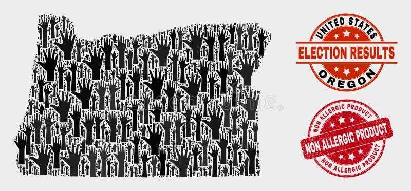 Collage de carte d'état de l'Orégon de scrutin et affliger le joint non allergique de produit illustration stock