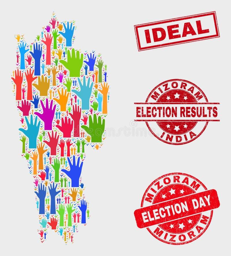 Collage de carte d'état de Mizoram de vote et affliger le filigrane idéal illustration stock
