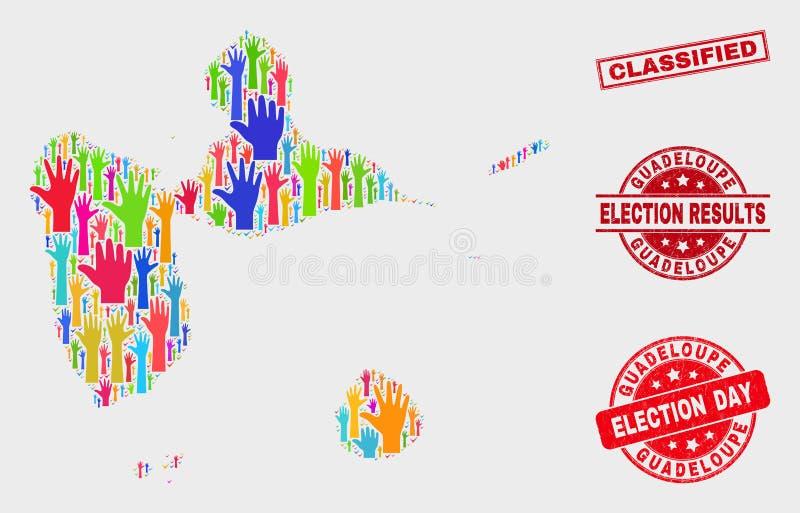 Collage de carte de la Guadeloupe de vote et de joint classifié rayé de timbre illustration libre de droits