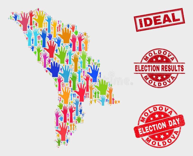 Collage de carte de Moldau de scrutin et affliger le filigrane idéal illustration de vecteur