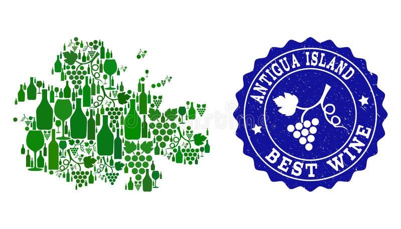 Collage de carte de vin de raisin d'île de l'Antigua et de filigrane grunge du meilleur vin illustration de vecteur