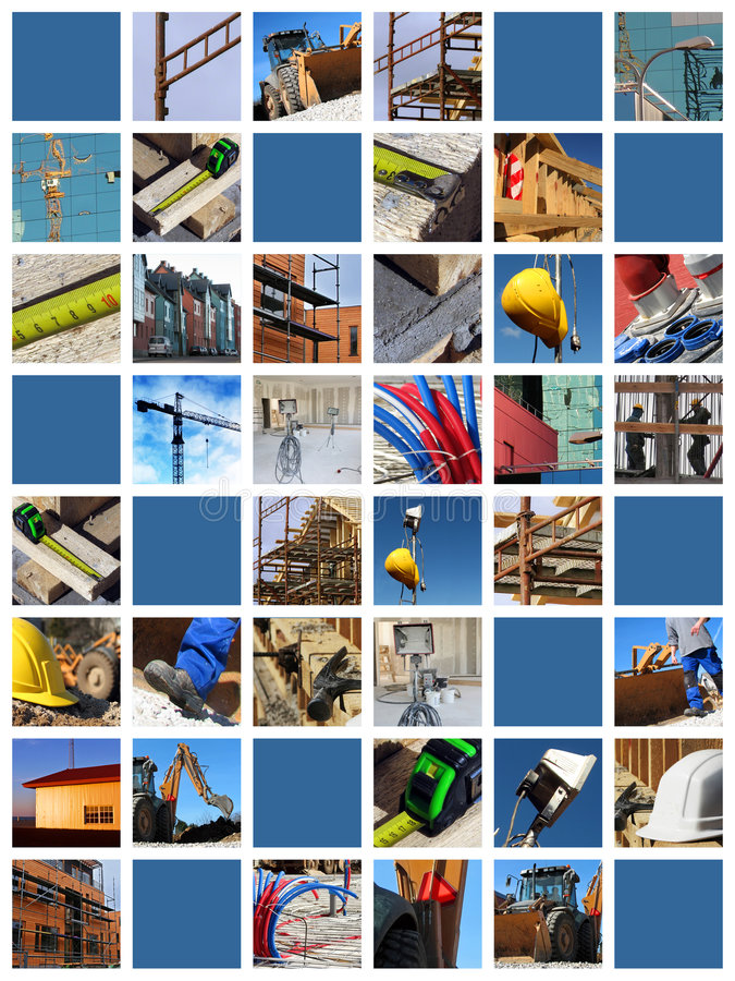 Collage de chantier de construction photo stock