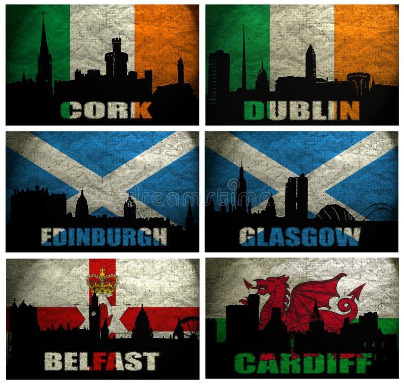 Collage de ciudades británicas famosas stock de ilustración