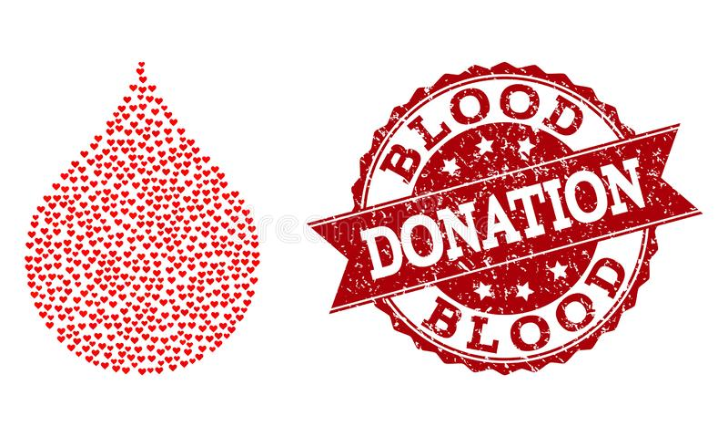 Collage de coeur d'amour d'icône de baisse de sang et de joint en caoutchouc illustration de vecteur