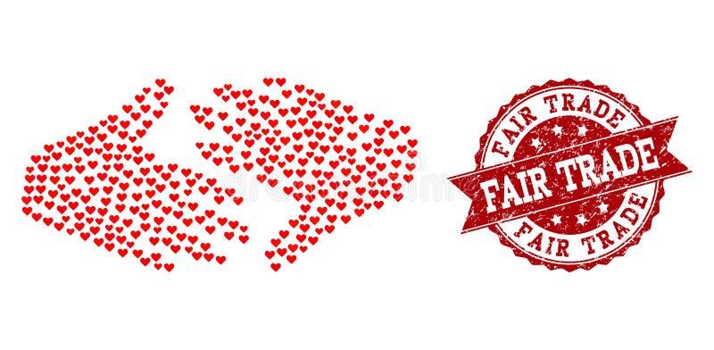 Collage de coeur d'amour d'icône et de tampon en caoutchouc de poignée de main de commerce équitable illustration libre de droits