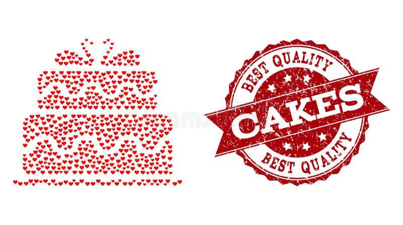 Collage de coeur d'amour d'icône de gâteau de mariage et de joint en caoutchouc illustration de vecteur
