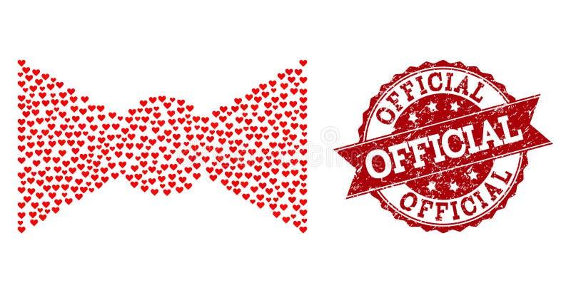 Collage de coeur d'amour d'icône de noeud papillon et de filigrane en caoutchouc illustration stock