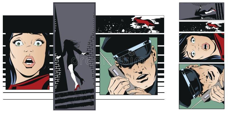 Collage de crime Victime de femme de criminel illustration stock