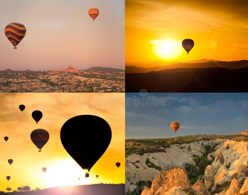 Collage de cuatro imágenes de globos fotografía de archivo libre de regalías