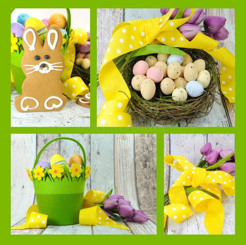 Collage de cuatro imágenes de las galletas felices del conejito del pan de jengibre del tema del amarillo y del verde lima de Pas imagen de archivo