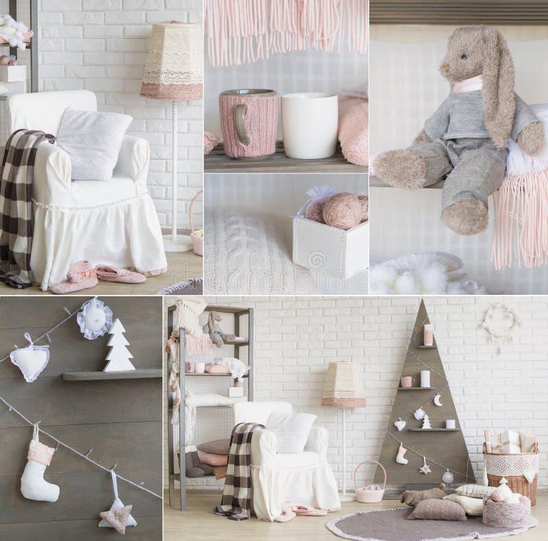 Collage de décoration intérieure de nouvelle année photographie stock