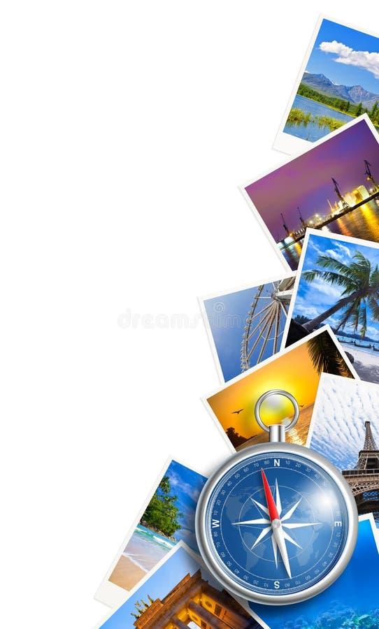 Collage de déplacement de photos avec la boussole d'isolement image stock